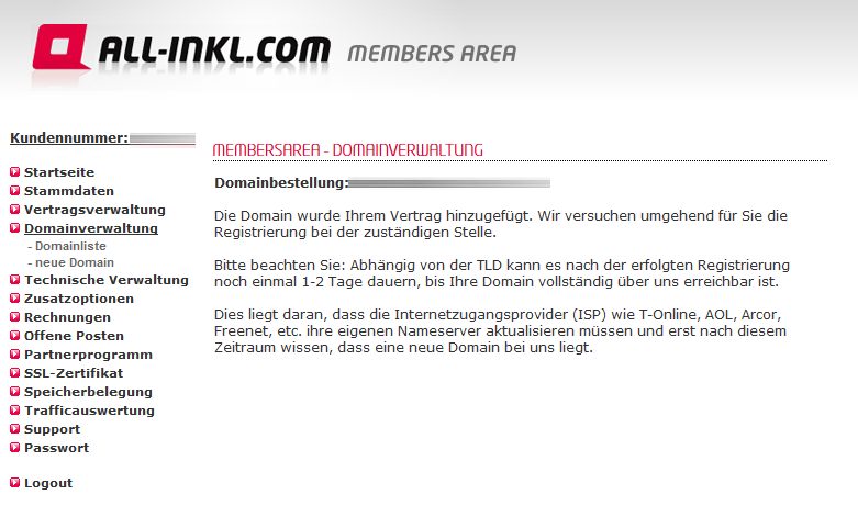 Domain über Allinkl registriert