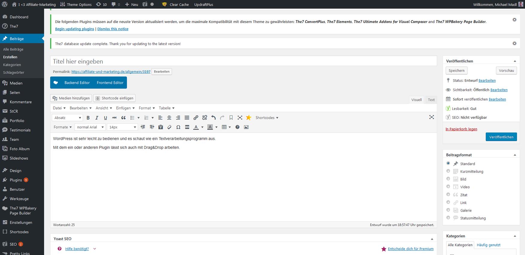 WordPress funktioniert wie Textverarbeitungsprogramm